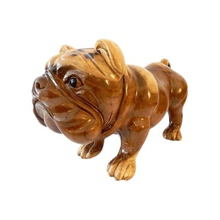 Carved Wood Bulldog