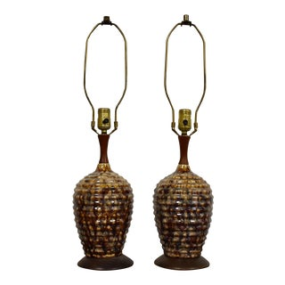 Glass and Walnut Table Lamps - Pair