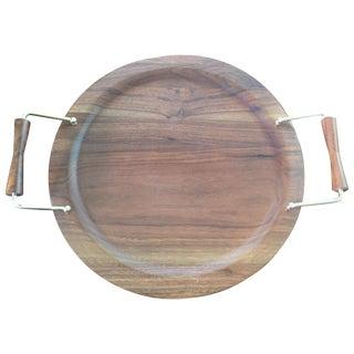 Vintage Danish Modern Wooden Round Tray