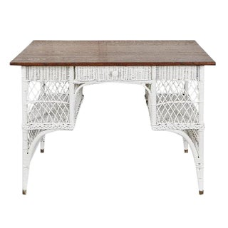 Wicker Desk with Oak Top