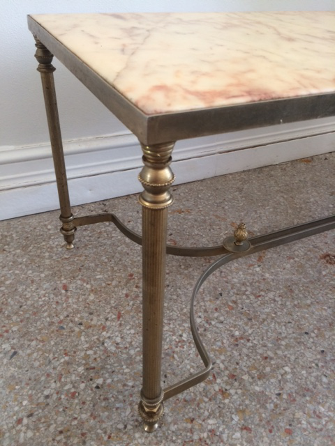 Vintage French Maison Jansen Marble Top U0026 Metal Base Coffee Table   Image 4  ...