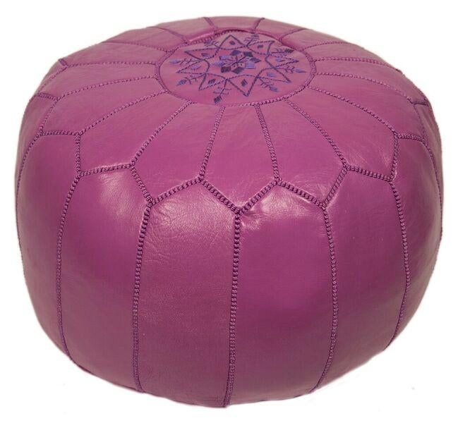 Lavender Embroidered Leather Pouf Stuffed Chairish