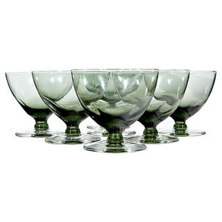 1960's Green Pinched Low Coupes - Set of 7