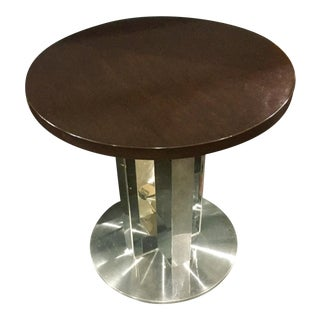 Modern Polished Steel & Dark Walnut Pedestal Table