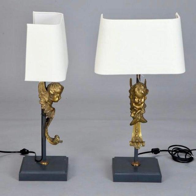 19th Century Italian Bronze Puti Cherub Table Lamps - A Pair - Image 3 of 5