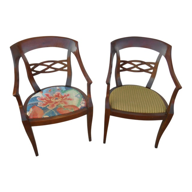Image of Vintage Baker Furniture Biedermeier Style Dining Chairs - A Pair