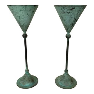 Oxidized Modernist Metal Vessels - A Pair