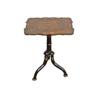 Antique Papier-Mâché-Applied Side Table