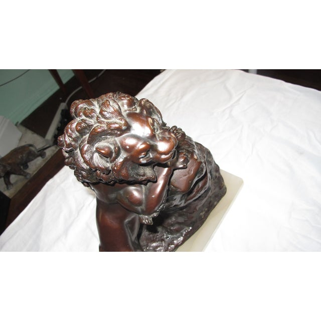 Image of Monumental Realistic Brass Lion Sculpture