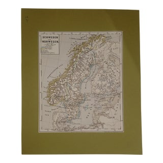 Vintage 19th Century Map of Sweden & Norway