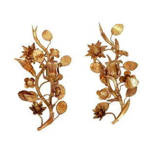 1960s Italian Gilt Floral Candle Sconces - A Pair