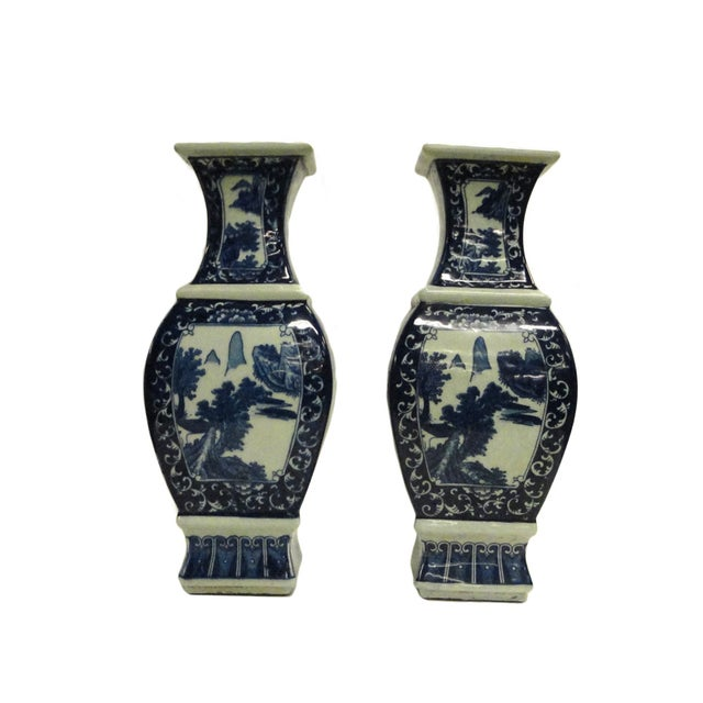 Image of Chinese Blue & White Porcelain Vases - A Pair