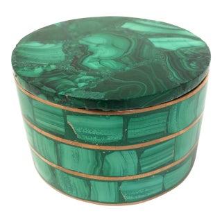 Round Malachite & Brass Box