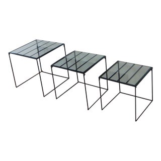 Vintage Iron & Glass Nesting Tables 1970s - Set of 3