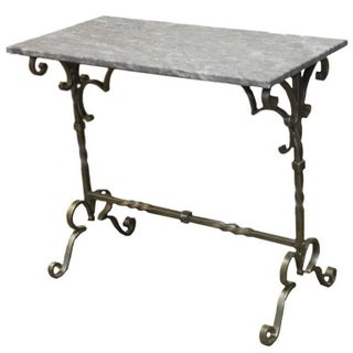French Style Wrought Iron Marble Top Console