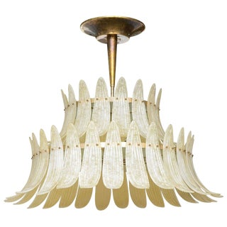 Monumental Murano Glass Scavo Palm Leaf Chandelier attributed to Barovier e Toso