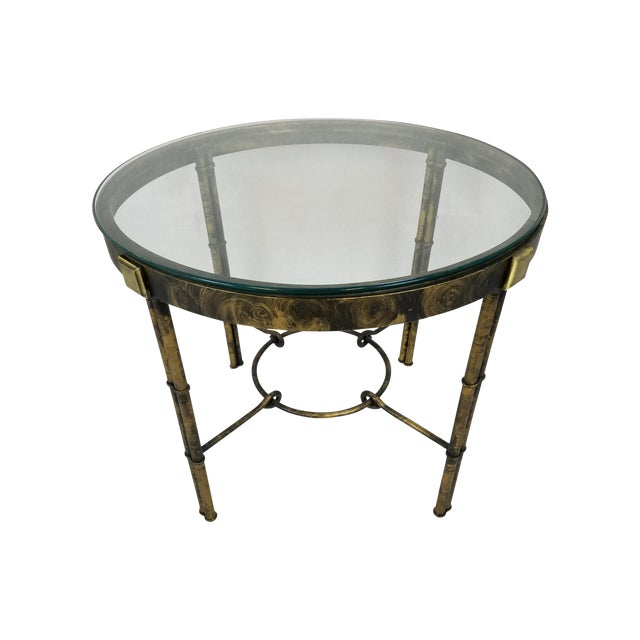 Round Regency-Style Faux Bamboo Table - Image 1 of 5