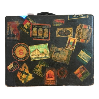 Antique Mendel Suitcase with Travel Stickers