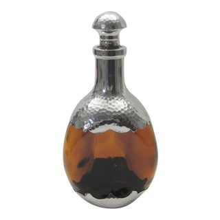 Amber Glass & Pewter European Pinch Bottle Decanter
