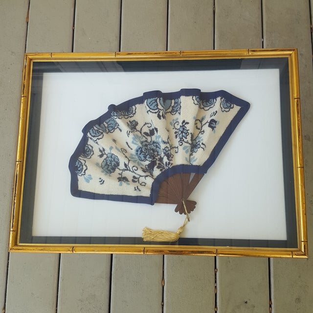 Framed Antique Floral Needlepoint Hand Fan - Image 2 of 7