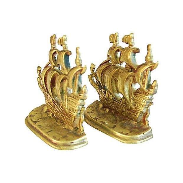 1960s Brass Galleon Ship Bookends - Pair - Image 3 of 3