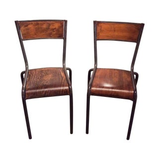 French Vintage Industrial Factory Chairs - A Pair