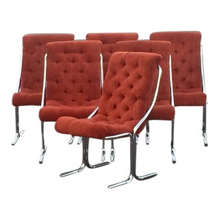 Daystrom Mid-Century Modern Chrome & Velour Chairs - Set of 6