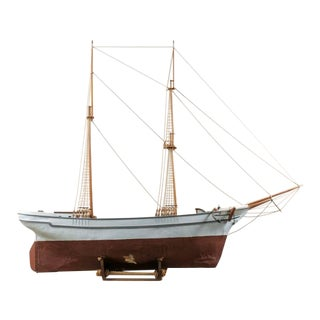 Swedish Ship Model on Stand with Two-Masts, Wooden Ketch or 'Brigantine' Layout
