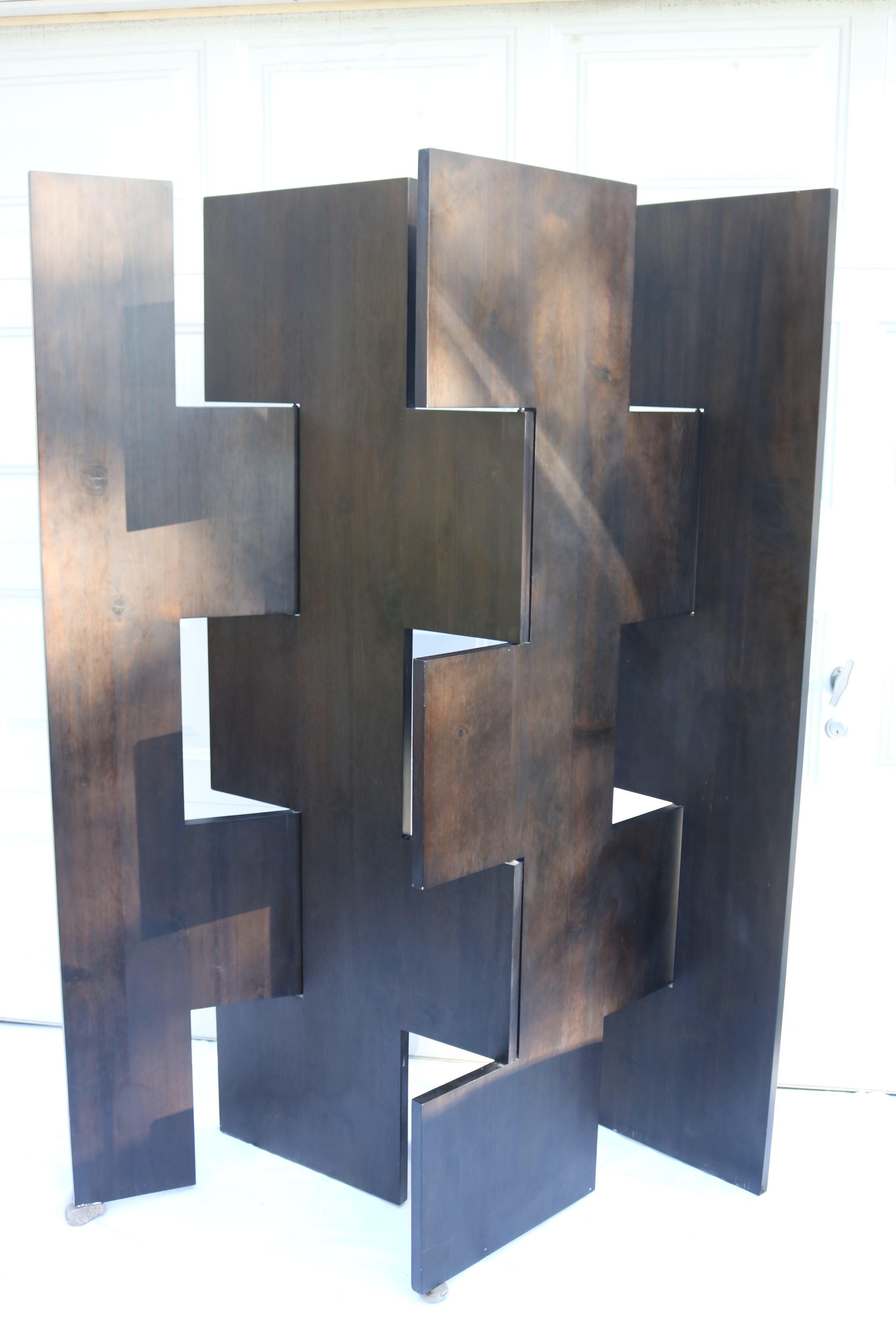 Modern Geometric Solid Brown Wood Room Divider Screen Abstract