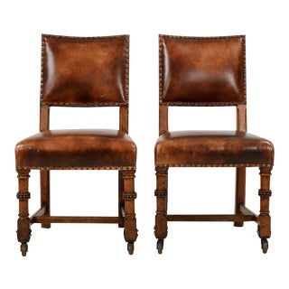 1900 Antique English Carved Oak and Leather Side Chairs - a Pair