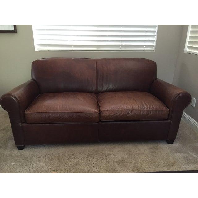 Crate Amp Barrel Leather Club Sleeper Sofa Chairish