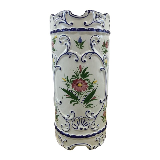 Hand Painted Ceramic Umbrella Stand or Tall Vase - Image 1 of 5