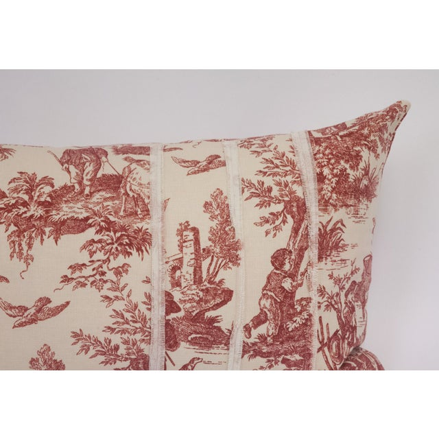 Deconstructed Red & Cream Toile Pillow - Image 5 of 5