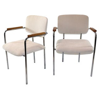 Mid-Century Ivory Office Chairs - A Pair