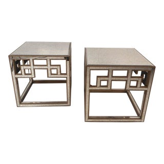 Vintage Modern Mirrored Hollywood Regency Style End Tables - a Pair