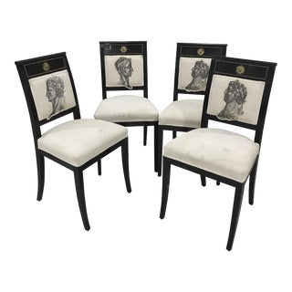 Black Frame & Bronze Doree Appliques Regency Chairs - Set of 4-Versace Style-