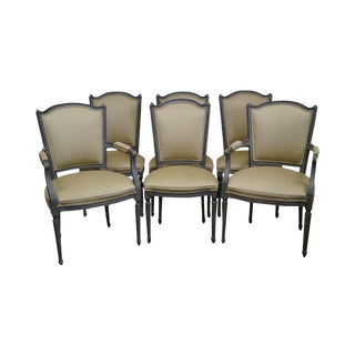 Vintage Painted French Louis XVI Style Dining Chairs - Set of 6