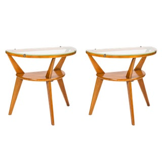 Vintage Modern Wooden End Tables - A Pair