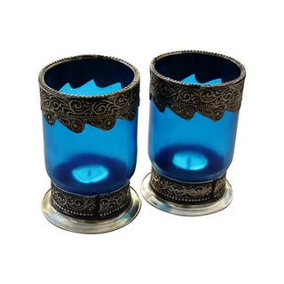 Moroccan Blue Glass Candleholders - A Pair