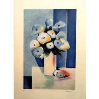 """Jean-Louis Honnet """"Fleurs Bleues"""" Signed Lithograph"""