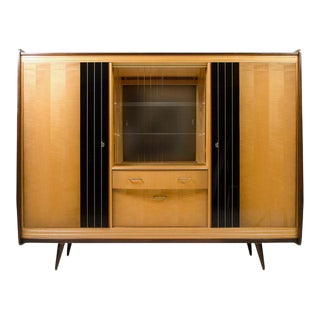 Biedermeier Style Walnut and Lacquered Maple Bar Cabinet