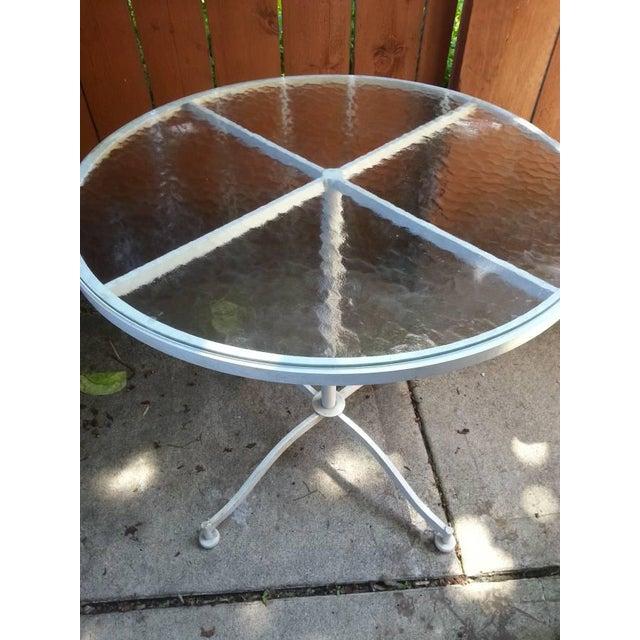 Vintage Meadowcraft White Wrought Iron Bistro Table
