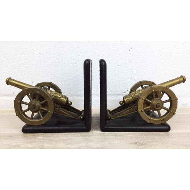 Antique Artillery French Leather & Bronze Bookends - A Pair - Image 3 of 11