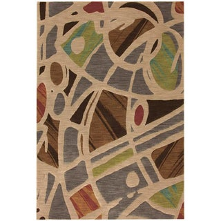 Painting on Floor - Mid Century Modern Area Rug - 8' X 10'