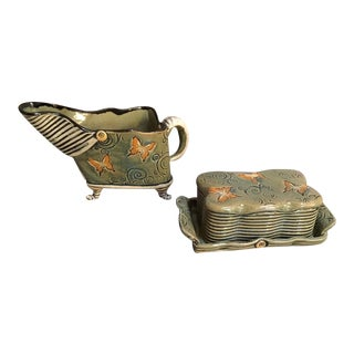 Butterfly Olive Green, Black and Orange Butter Dish and Pitcher - 2 Pc.