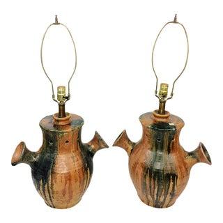 Mid-Century Italian Pottery Drip Glaze Lamps - A Pair