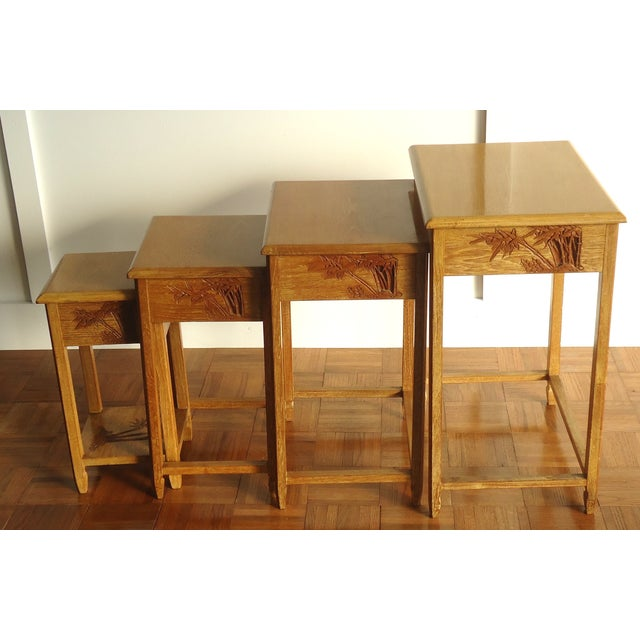 Chinese carved nesting side tables set of chairish