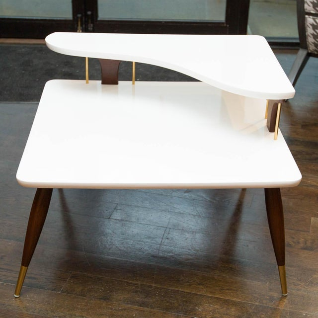 Vintage Lacquered Two-Tiered Corner Table - Image 4 of 8