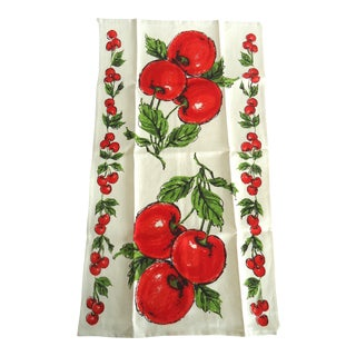 Vintage Linen Cherry Print Tea Towel