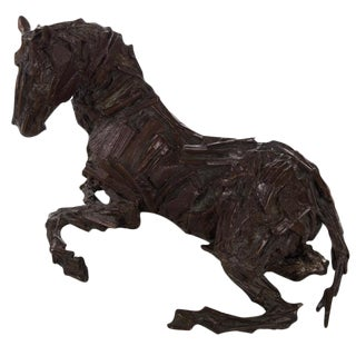 Abstract Modern Bronze Sculpture of a Seated Horse